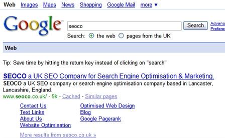 Google Sitelink Update
