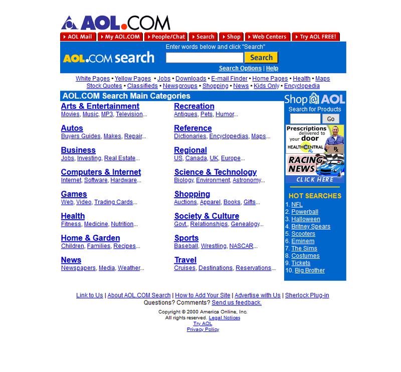 AOL search engine in 2000