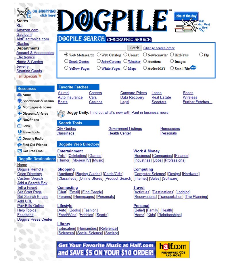 Dogpile search engine in 2000