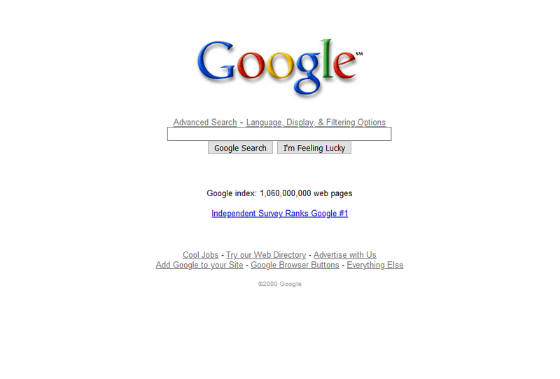 Google search engine in 2000