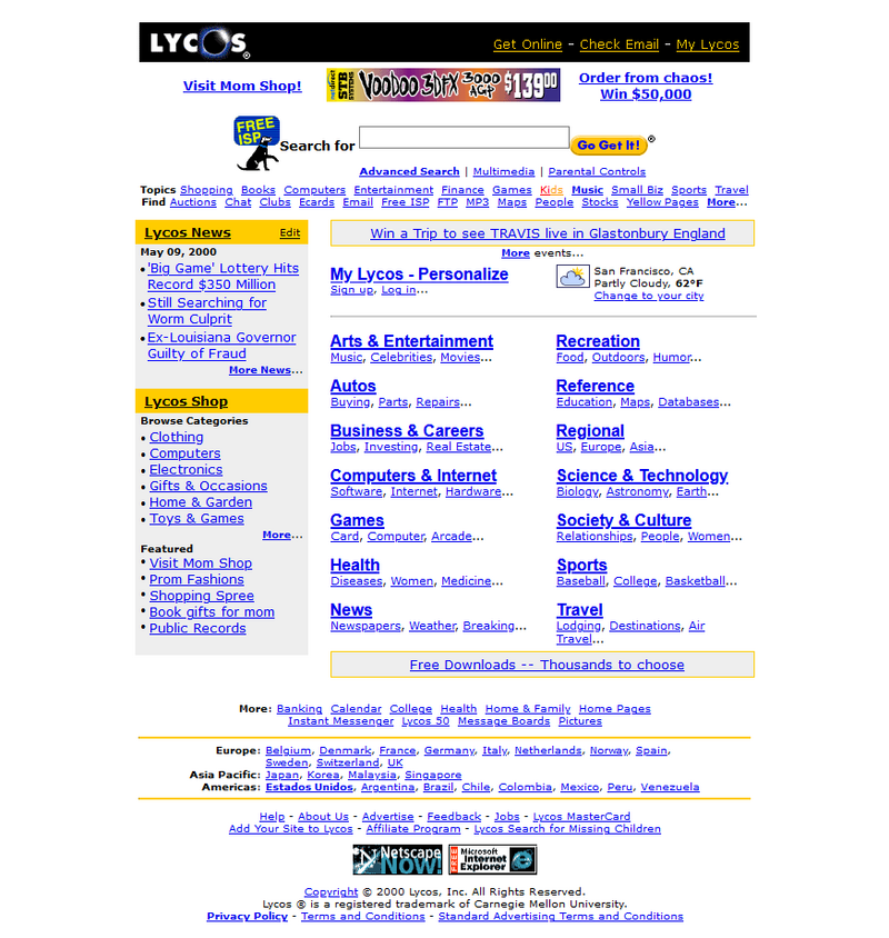 Lycos search engine in 2000