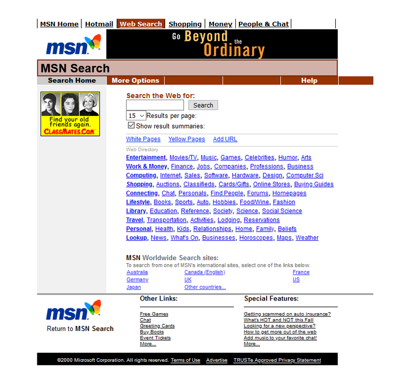MSN search engine in 2000