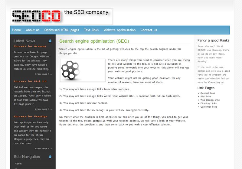 Seoco web design 2006 - 2008